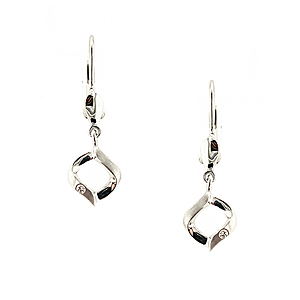 18ct White Gold 0.02ct Diamond Earrings