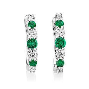 18ct White Gold 0.22ct Emerald + 0.24ct Diamond Hoop Earrings