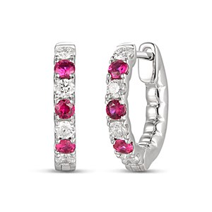 18ct White Gold 0.29ct Ruby + 0.34ct Diamond Hoop Earrings