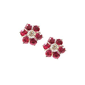 18ct White Gold Ruby + Diamond Earrings