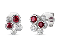 18ct White Gold 0.40ct Ruby + 0.11ct Diamond Bubble Stud Earrings