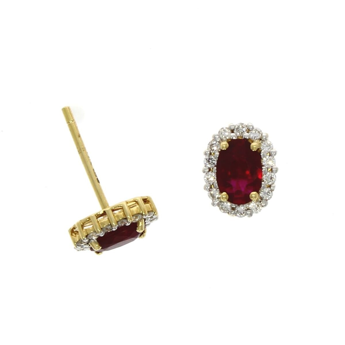 18ct Yellow Gold 1.00ct Ruby + 0.27ct Diamond Earrings