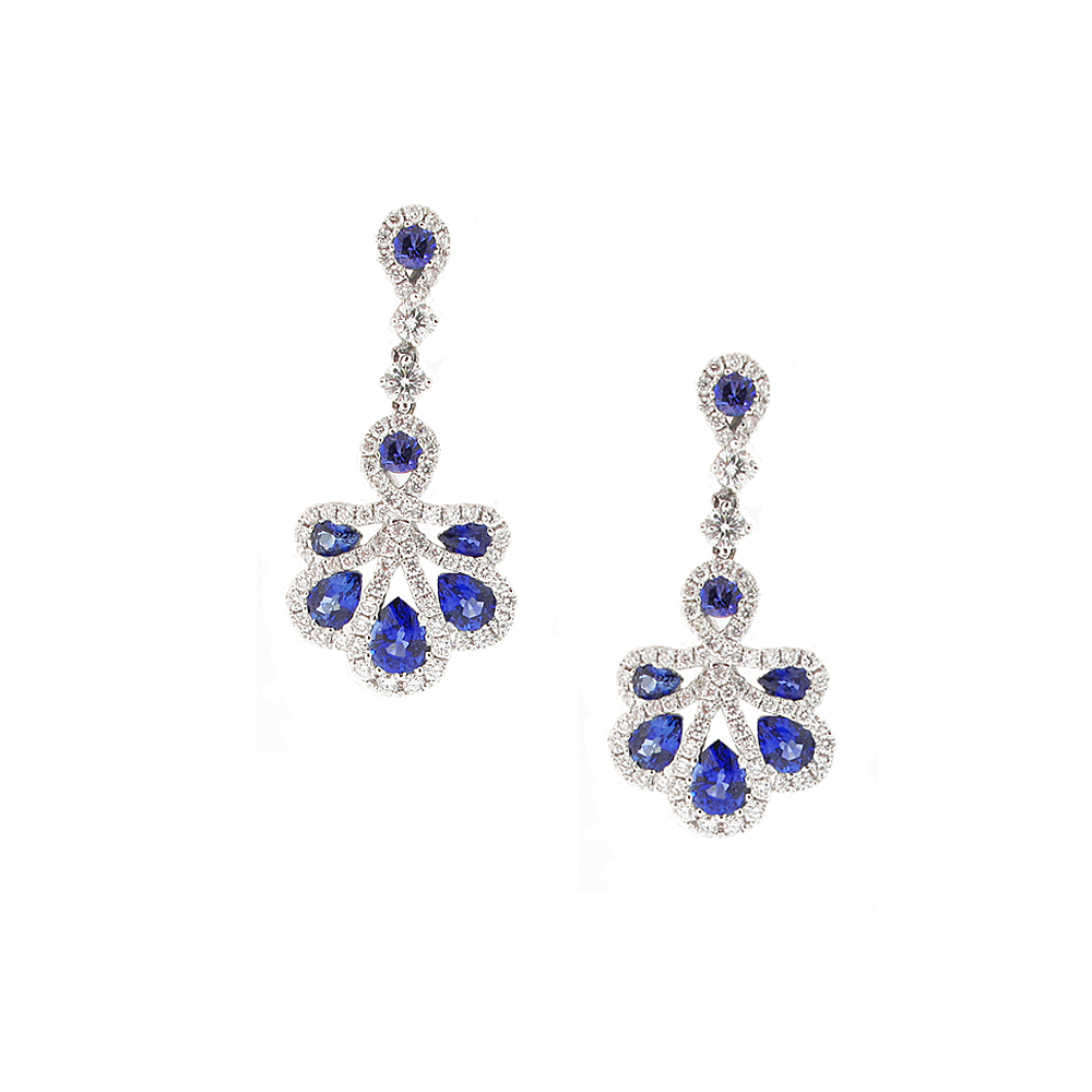 18ct White Gold Sapphire + Diamond Drop Earrings