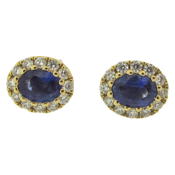 18ct Yellow Gold 0.44ct Sapphire + 0.12ct Diamond Earrings