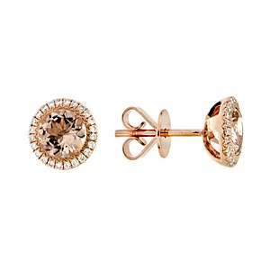 18ct Rose Gold Morganite + Diamond Earrings