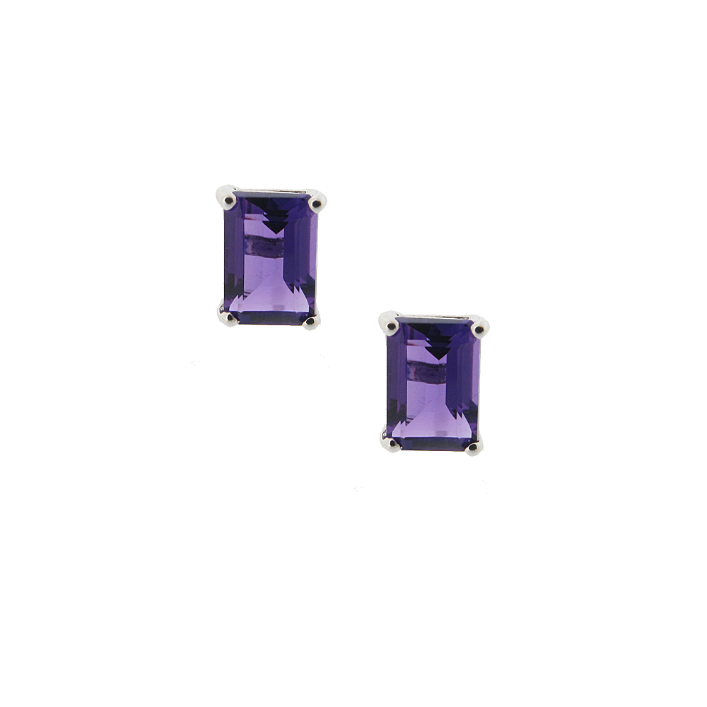 18ct White Gold Amethyst Earrings