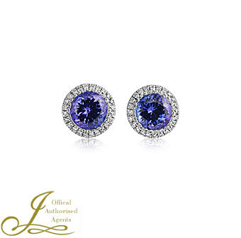 18ct White Gold Tanzanite + Diamond Earrings