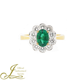 18ct Yellow Gold Emerald + Diamond Cluster Ring