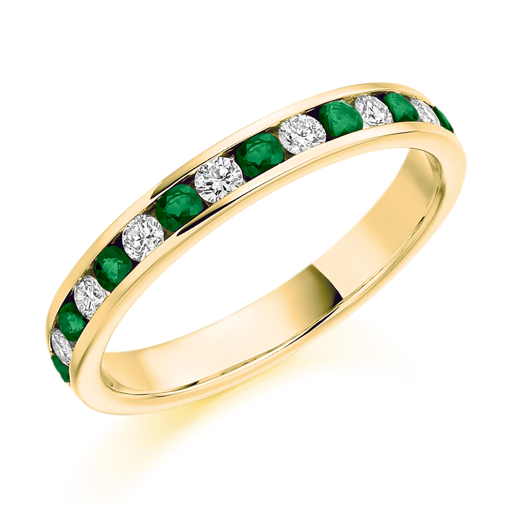 stone three engagement and brilliant diamond wedfit rings round platinum cut emerald