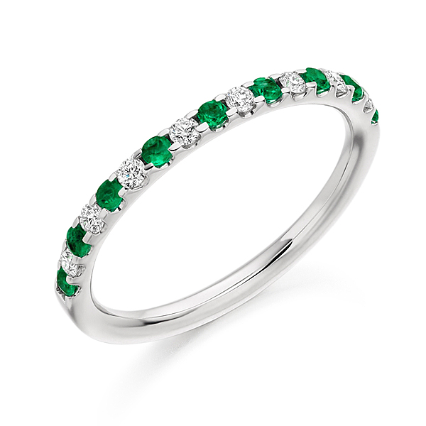 Platinum 0.17ct Emerald + 0.18ct Diamond Half Eternity Ring