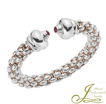 Fope Star Silver, Palladium and Rose Gold Bangle with Rubies