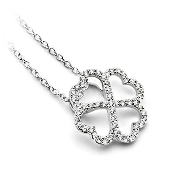 18ct white gold four-leaf clover pendant