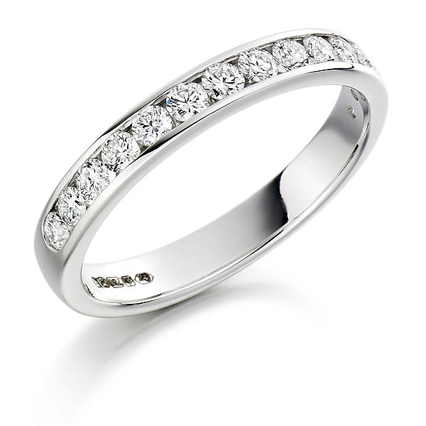 Platinum 0.50ct Diamond Half Eternity Ring