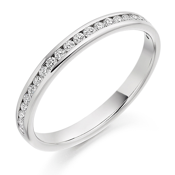 Platinum 0.25ct Diamond Half Eternity Ring