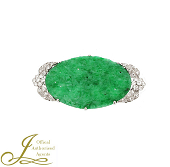 Second Hand Platinum Jade + Diamond Brooch