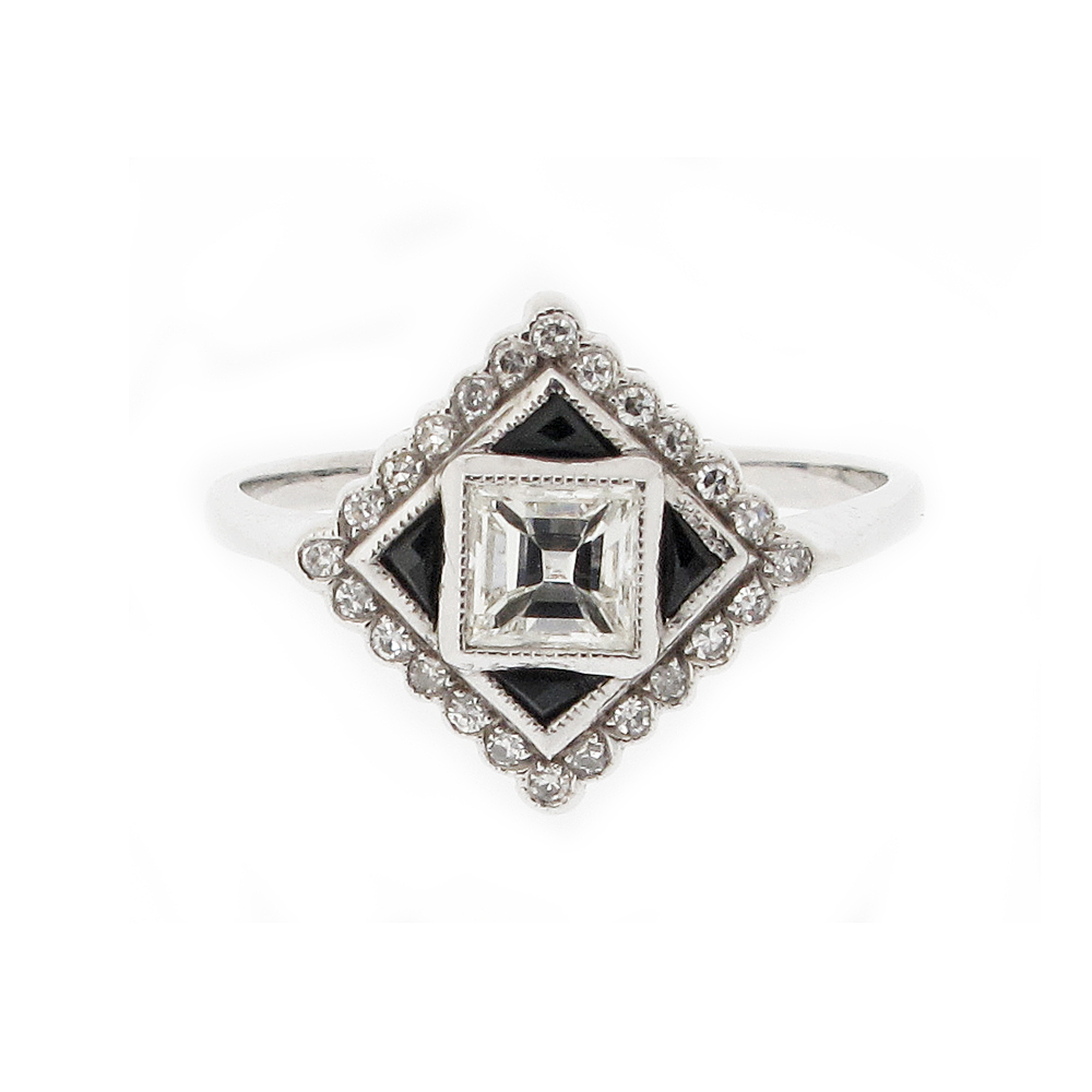 Second Hand Art Deco Diamond + Onyx Dress Ring