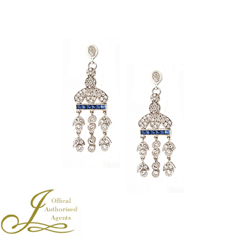 Second Hand Platinum Sapphire + Diamond Earrings