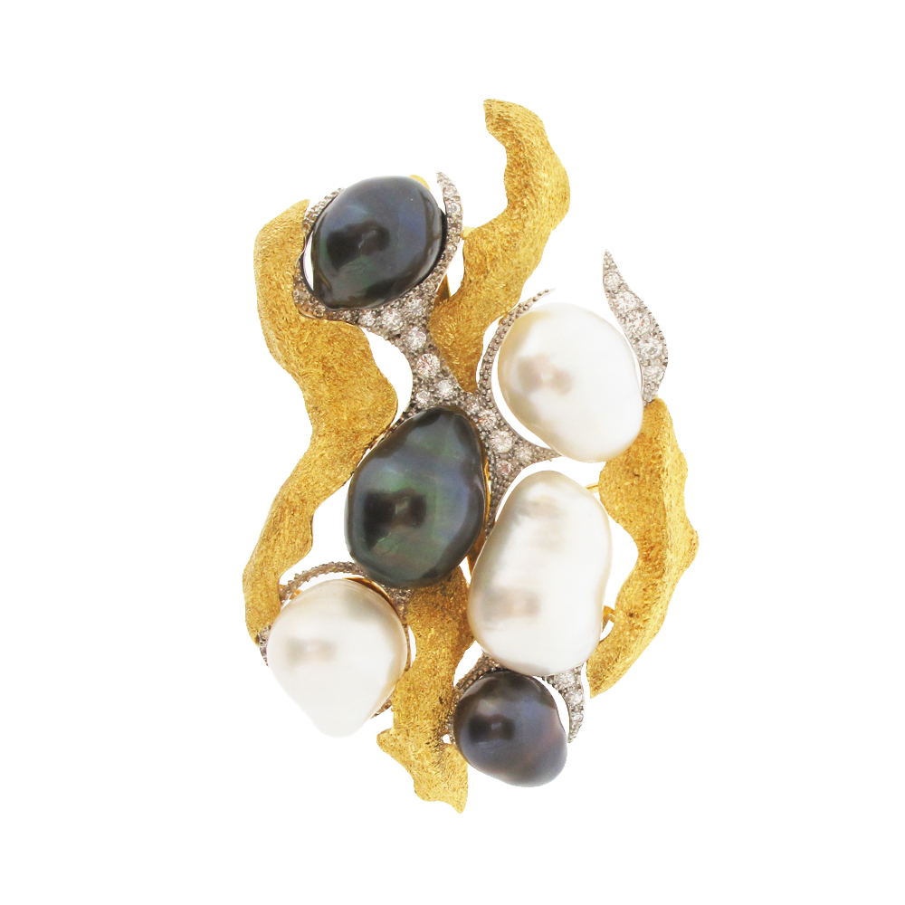 Second hand baroque pearl and diamond brooch/pendant