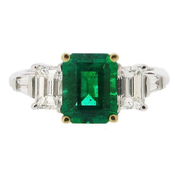 Platnium and 18ct yellow gold emerald ring