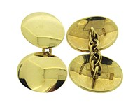 Second Hand Pair Of 9ct Yellow Gold Oval + Chain Cufflinks