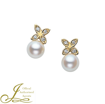 Mikimoto Pearl and Diamond Earrings