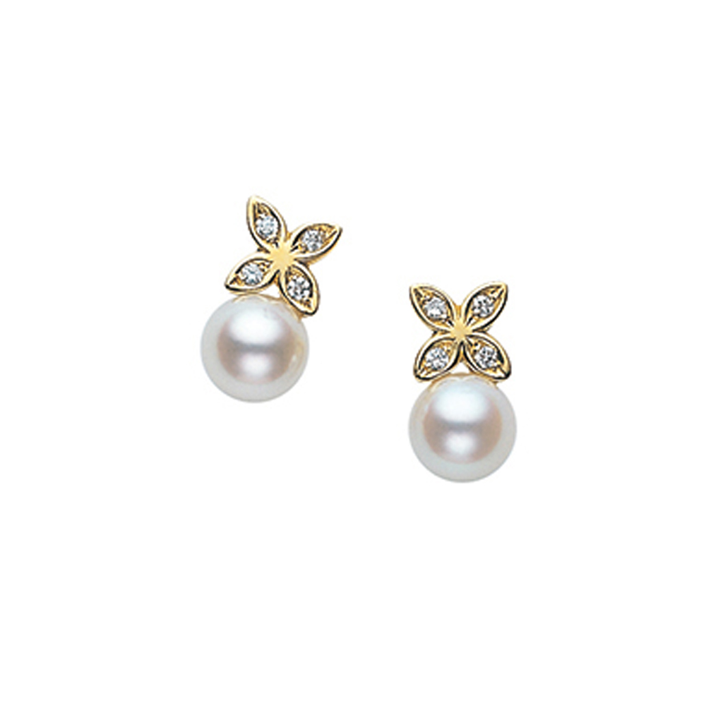Mikimoto Pearl Diamond Earrings