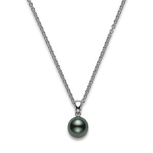 Mikimoto 18ct White Gold 8-9mm Black Pearl Pendant