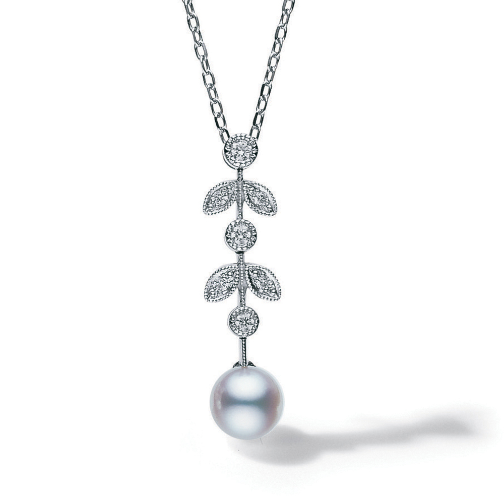 Mikimoto Vintage Design Pearl and Diamond Pendant