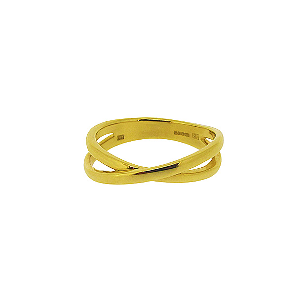 18ct yellow gold crossover ring
