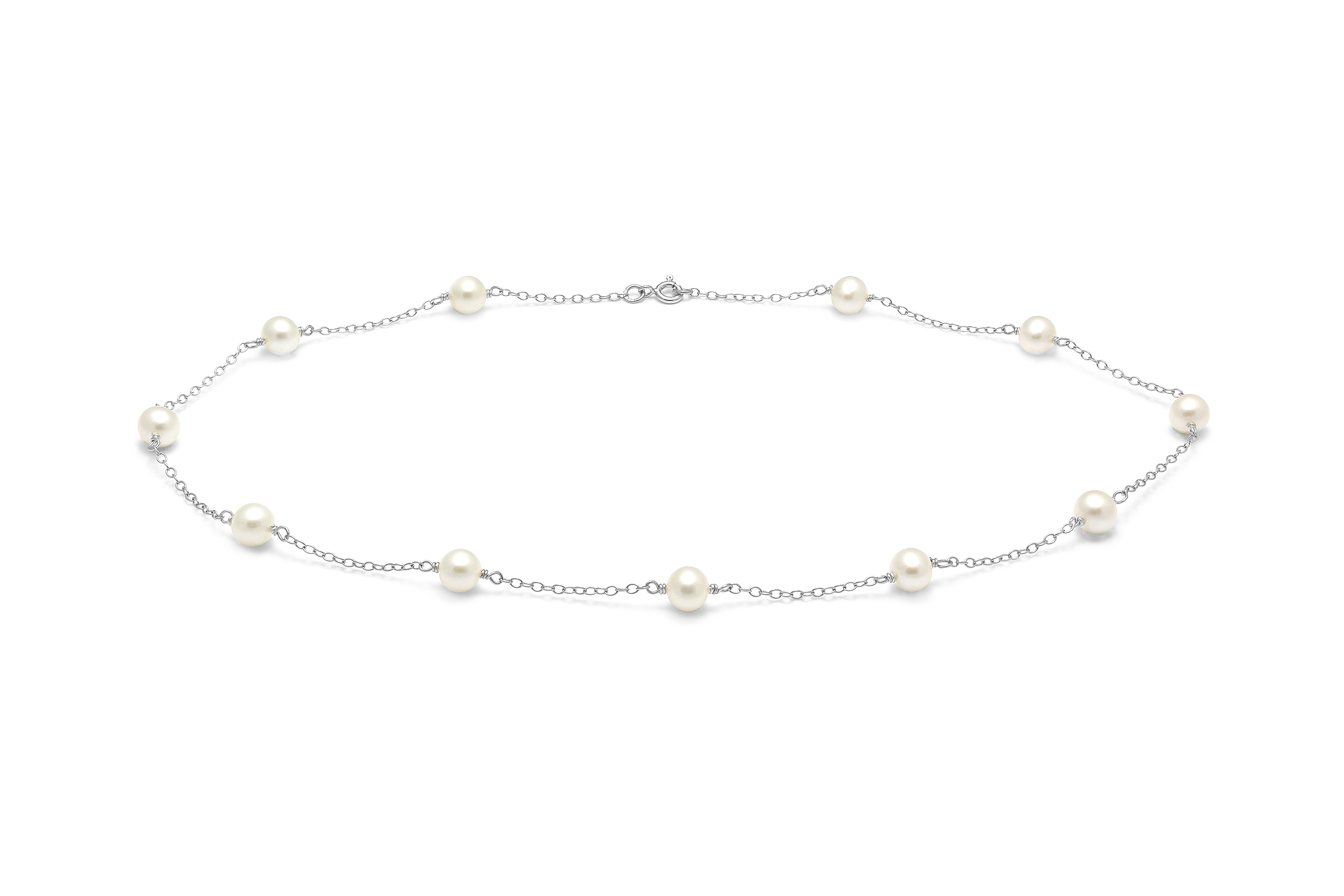 A Trace link necklace with Cultured River Pearls along the chain