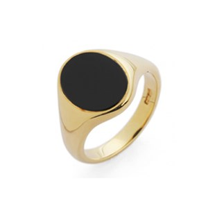 18ct Yellow Gold 12x10mm Oval Onyx Signet Ring
