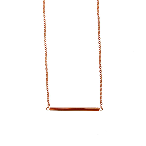 18ct rose gold bar necklace
