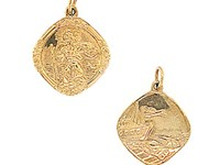 9ct Yellow Gold Double-sided St Christopher Pendant