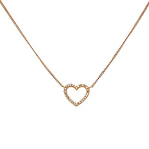 18ct Rose Gold + 0.05ct Diamond Heart Pendant