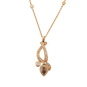 18ct Rose Gold Diamond and Smokey Quartz Pendant
