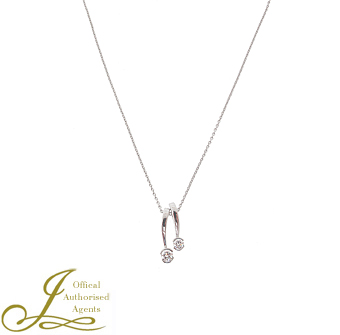 "An 18ct white gold diamond set necklace,on an 16.5"" fine trace link chain"