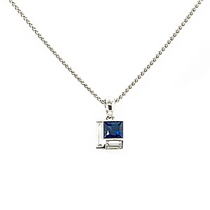 18ct White Gold 0.67ct Sapphire + 0.17ct Diamond Pendant