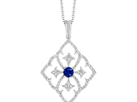 18ct White Gold 0.18ct Sapphire + 0.17ct Diamond Necklace