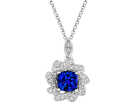 18ct White Gold 1.19ct Sapphire + 0.24ct Diamond Cluster Necklace