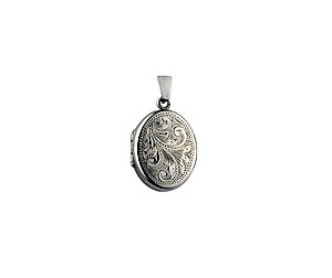 Sterling Silver Oval Swirl Engraved Locket