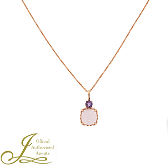 18ct Rose Gold Pink Quartz + Amethyst Pendant