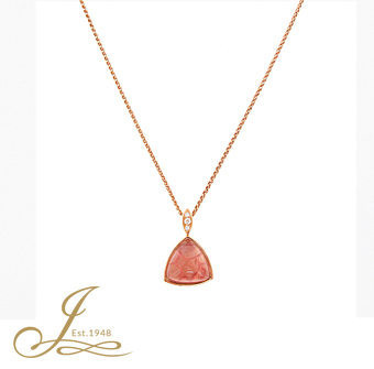 18ct Rose Gold Pink Enamel, Diamond + Rock Crystal Pendant