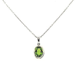 18ct White Gold Oval Peridot Pendant & Chain