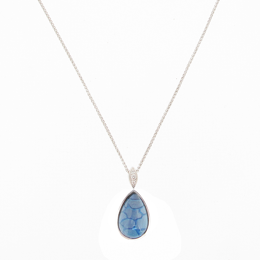 18ct White Gold Blue Enamel, Diamond + Rock Crystal Pendant