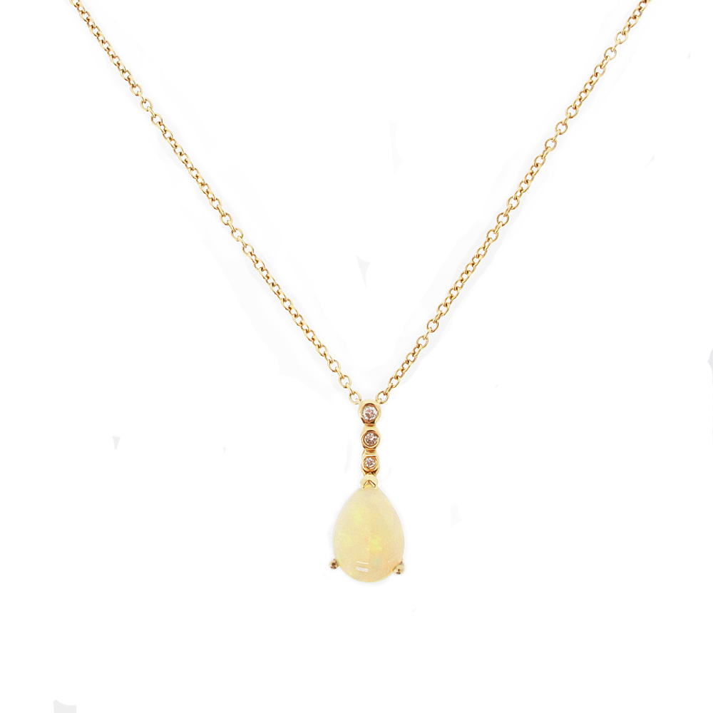 18ct Yellow Gold Opal + Diamond pendant