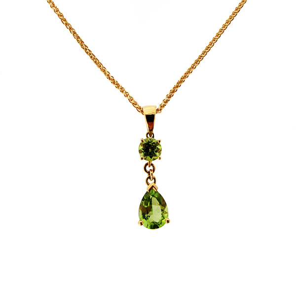 18ct yellow gold peridot drop pendant