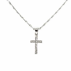 18ct White Gold Diamond Cross Pendant