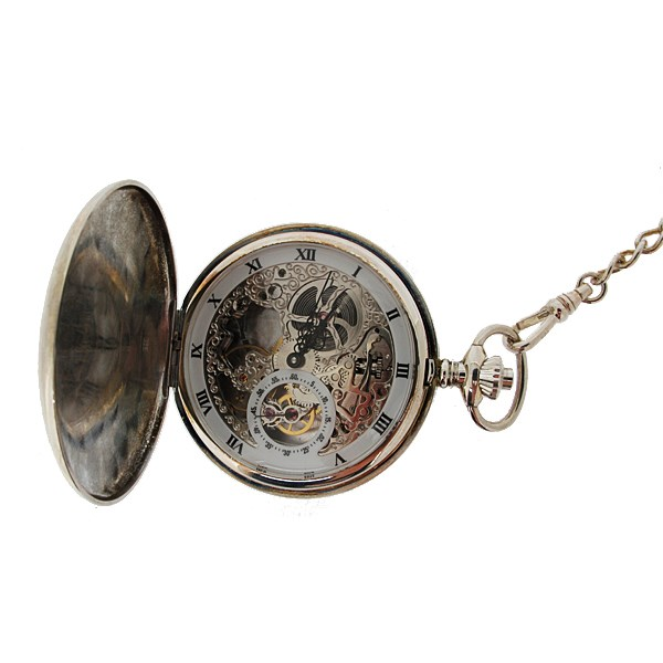 Sterling silver double cover pocket watch