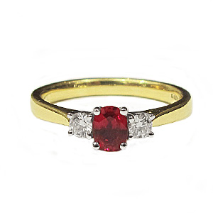 18ct Yellow Gold 0.44ct Ruby + 0.16ct Diamond Trilogy Ring