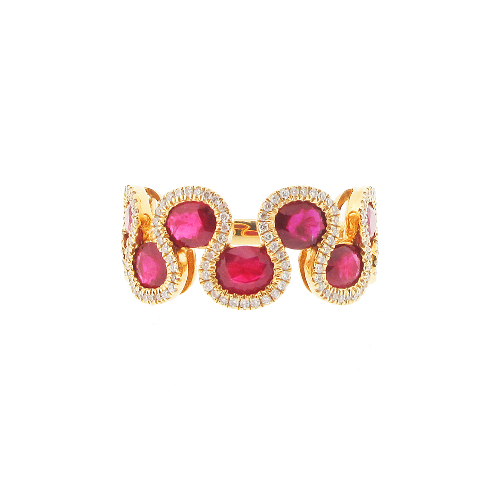 18ct yellow gold ruby and diamond dress ring